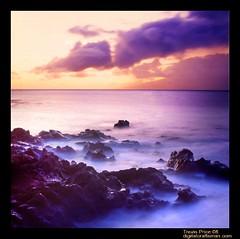 Maui Sunset (etravus) Tags: ocean longexposure travel blue sunset vacation sky orange mist color film tourism kids youth clouds mediumformat children landscape island hawaii interestingness