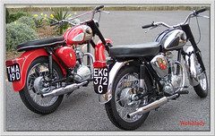 Two of a kind. (welshlady) Tags: red wow memorial kodak wheels motorcycles bikes c15 hobby chrome 100views renovation bandstand bsas captainscott ss80 rebuilds welshlady amateurhour classicmotorcycles theworldthroughmyeyes