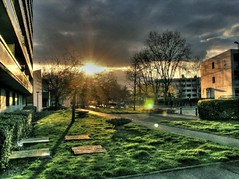 sunset in suburbia ([phil h]) Tags: trees light sunset 15fav sun france topf25 grass silhouette topv111 composite architecture clouds 1025fav 510fav wow landscape interestingness spring topf50 topv555 topv333 topf75 europe 500plus minolta topc50 topv999 topv444 lawn suburbia silhouettes sunny 2006 fv5 topv222 lensflare processing april suburbs topv777 konica a200 topv3333 parisist topf100 topv666 dimage hdr springtime topv888 konicaminolta stumbleupon postprocessing stumbled 1000v40f