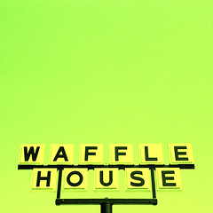 waffle house, orlando, fl. 2006. (eyetwist) Tags: urban green sign yellow square typography words orlando xpro crossprocessed nikon cross graphic florida crossprocess character text letters fastfood diner photographic ishootfilm wafflehouse signage font type letter americana tungsten process digits waffles fonts fujichrome processed waffle typology fragment typographic letterforms 64t fuji64t e6c41 betterlivingthroughchemistry top20signs eyetwist ishootfuji typographyandlettering dramaticcolor contactforstockusage thisimagemaybeavailableforlicensecontactformoreinfo