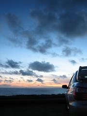 STI being mystified by the sunset (AxlxA) Tags: sunset white silver san francisco nissan subaru z wrx sti 350z