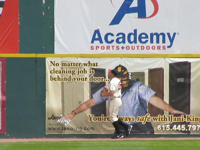 Jason Botts watches a home run in left field