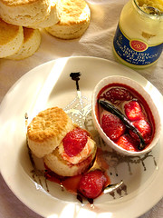 simple scones and an equally simple strawberry jam. (chotda) Tags: light food dessert tea sweet fast sugar fatty vanilla scones lovely quick sugary afternoontea creamy