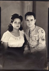 Studio Proof of my Parents - Vintage (Tobyotter) Tags: blackandwhite bw vintage mom parents louis uniform dad military father mother nelly newlyweds vintagescans