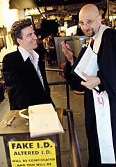 Lord & Jen: Hanging with Rev. Louie (Ryan Brenizer) Tags: nyc newyorkcity wedding newyork man bar nikon kiss emotion manhattan candid lowereastside 2006 sigma30mmf14dc noflash april d200 unposed cbgbs cbgbsgallery sigma30mmf14exdchsm lordcarrett passionpurposeandpersonalvision cbgbs313