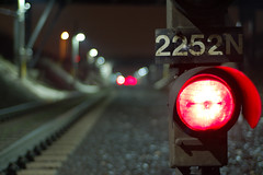 Train Track Lights. (avp17) Tags: railroad light ontario canada train d50 50mm nikon track bokeh railway valley windsor stoplight nikkor 50 redlight oulette