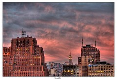 After the Sunset (Arnold Pouteau's) Tags: nyc newyorkcity sunset newyork downtown manhattan esb tribeca outsidethewindow hdr 50ms