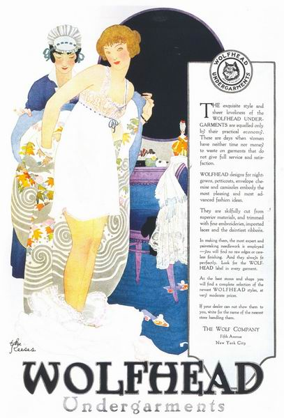 "The Reeses, ""Wolfhead Undergarments"" ad, 1918"