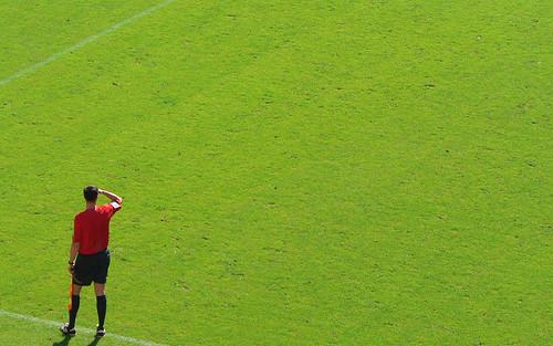 Auf weiter Flur / Referee -- munich soccer green münchen red fussball referee bundesliga rasen grass weiter auf