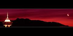 harbour centre panorama (fuzzbox) Tags: sunset sky panorama cloud canada mountains color colour art nature topf25 topv2222 architecture vancouver landscape interestingness bc scs 123ac flickrestrellas