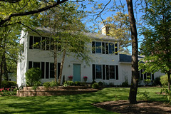 The Old Homestead (Jim Frazier) Tags: flowers houses windows plants white house plant flower building green home window nature stone