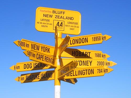 Bluff New Zealand sign