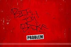 BITCH IM BROKE, Minneapolis, Minnesota (Seven Seconds Before Sunrise) Tags: city red urban minnesota graffiti sticker unitedstates tag minneapolis twincities