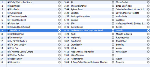 """Love Songs for Robots"" playlist in iTunes"