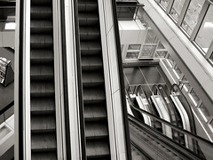 escalator (heavenuphere) Tags: bw netherlands architecture rotterdam europe library escalator publiclibrary centrallibrary zuidholland southholland vandenbroekenbakema