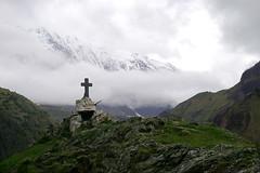 Roadside shrine with mountains (SusanAstray) Tags: shrine caucasus sakartvelo kazbegi