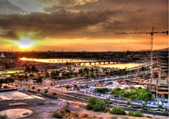 Western Sunset (Videoal) Tags: sunset arizona lake buildings landscape bridges explore hdr tempe