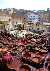 Fes, tannery, overview by Christine Vaufrey