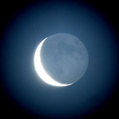 Waning moon with earthshine - by jpstanley