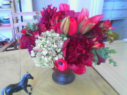 Pony loves wedding flowers