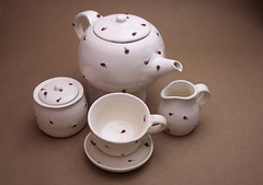 Ladybug motif tea set (Bridgman Pottery) Tags: wedding mississippi ceramic memphis tennessee mint craft delta midtown southern gifts clay oxford teapots shearwater potters doubledecker mccarty juleps bridgmanpottery melissabridgman melissabridgeman bridgemanpottery melissamcguire southernstudies