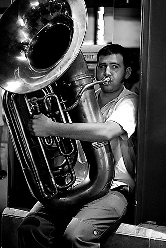 tuba -- street black bw white blackandwhite san tuba hours performance music aid gomorransocialaidandpleasureclub