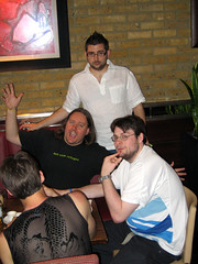@media2006 - saturday social - norm and drew and ross (patrick h. lauke) Tags: london media birdbath marknormanfrancis drewmclellan atmedia rentboy cackhanded media2006 atmedia2006 allinthehead wtfaruk rossbruniges thecssdiv harryboozeniges