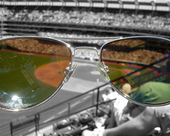 Jacobs Field: The View Through Kevin's Sunglasses (laffy4k) Tags: sunglasses glasses baseball artistic 2006 clevelandindians jacobsfield artsyfartsy aviator aviators baseballfield mlb selectivecolor aviatorglasses selectivecolorization aviatorsunglasses majorleaguebaseball june2006 selectivecolorisation progressivefield
