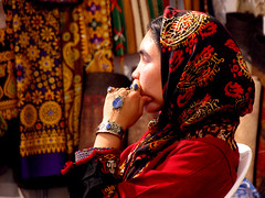 (Farhang.) Tags: red woman handicraft persian iran 2006 exhibition traditionaldress turkman farhang turkoman iranshandicraftsexhibition handicraftd farhanghaghighat