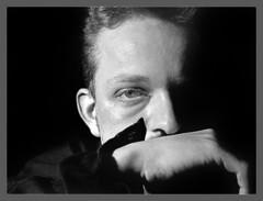 Faces  Kurt I (iEiEi) Tags: portrait people bw male monochrome face analog 35mm nikon gesicht kurt indoor human sw mann grayscale studiolight nikkor schwarzweiss 8008 mensch repro nikon8008 kodakphotocd einfarbig schwarzweis nikon801s innenaufnahme 85points 50mmf18afd shadowf 801s filmkamera kleinbild kodak5054tmz ieiei