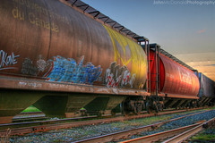 Free Trackside Coffee (John  McDonald) Tags: sunset red canada calgary train star grafitti tunisia tracks railway wars cpr hdr johnmcdonald interestingness37 i500 utatafeature utatahotwheels djxtremeaudiophile