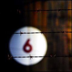 if six was nine (Misteriddles) Tags: 6 art industry topf25 fence numbers barbedwire oil terror barbs six refinery petroleum photographyisnotacrime pinkenba misteriddles