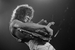 Eddie Van Halen with his yellow Kramer doubleneck (Taylor Player) Tags: people musicians portraits photography 1 performance performingarts guitars americans males northamericans prominentpersons whites concerts eddievanhalen van adults halen guitarists vanhalen musicalinstruments blackandwhitephotography stringedinstruments musicalperformances musicalinstrumentplaying electricguitars