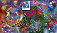 World  through Flickr (krandolph) Tags: pink flowers blue red green yellow rock photoshop silver reflections stars amazing paint circles space flames hard magenta stamp spheres poloroid flexify flickrcolorcontest splothch
