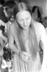 080370 32 (ndpa / s. lundeen, archivist) Tags: wedding people blackandwhite bw woman film girl monochrome face boston 35mm dress drink massachusetts longhair august 1970 mass 1970s youngwoman weddingreception unidentified dewolf nickdewolf photographbynickdewolf