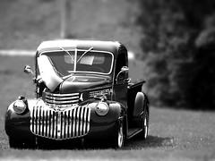 Real-ish Miniature Chev (Dunbone) Tags: bw chevrolet truck miniature antique fake ground historic level peterborough 1946 tiltshift 250v10f kkfav