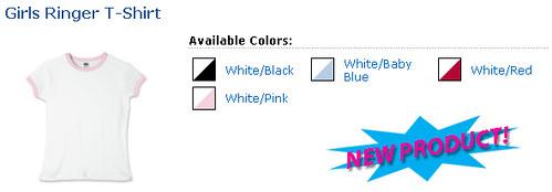 New Product - Girls Ringer T-Shirt!