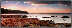 Evening on the Rocks... (juliewilliams11) Tags: outdoor shore beach landscape coast photoborder sky sunset cloud rocks longexposure nd8 cokin filter gnd newsouthwales australia serene water contrast summer