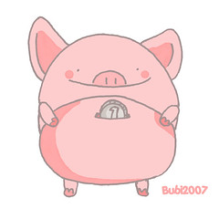The Year of Pig (Bubi Au Yeung) Tags: pink illustration pig sketch coin drawing bank 2007 yearofpig