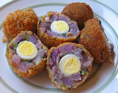 Leftover remake: Scotch quail egg with potato salad
