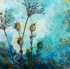 "original modern abstract painting 6""x6"" (lspring111) Tags: original summer plants abstract texture field collage modern painting paper gold spring acrylic handmade contemporary teal oneofakind small letters numbers gift handwritten torquoise alteredphoto byartist"