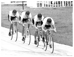 Tokyo Olympic Games, 1964. (Paris-Roubaix) Tags: white black bicycle japan vintage germany tokyo cyclists team track games racing photographs olympic straps velodrome pursuit hairnet 1964 hachioji toeclips hemets lotharclaesges karllink karlheinzhenrichs andernststrenggermany