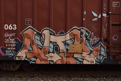 ALTR (TheGraffitiHunters) Tags: graffiti graff spray paint street art colorful freight train tracks benching benched boxcar altr