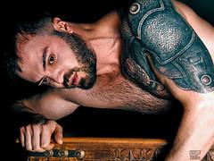Hayk (Հայկ) -  new website online!  check link below (WF portraits) Tags: arm man male portrait studio tattoo gladiator beard hariy naked nude chest fitness gym muscles