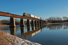 Morning Reflections (jc_canon) Tags: cmq centralmainequebec thomaston thomastonmaine millcreek rocklandbranch geb237 ge b237 train freighttrain bridge railroadbridge water waterscape winter snow ice