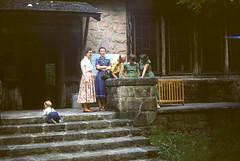 Roxie Williams, Dot Rice, Felton Williams, Mary Jo McHenry, Mother Folk Dance Club picnic LMU - Bartlett Park Middlesboro KY June 1954.jpg (buddymedbery) Tags: middlesboro family 1954 unitedstates kentucky years 1950s chuck mother