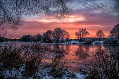 frozen sunset-mirror (Florian Grundstein) Tags: sunset mirror reflection water river riverside tree nature natural bavaria upperpalatinate naab morning ice frozen winter cold