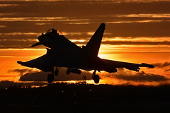 Typhoon Sunset (np1991) Tags: royal air force raf lossiemouth lossie moray scotland united kingdom uk nikon digital slr dslr d7100 camera sigma 50500mm 50 500 50500 mm bigma lens aviation planes aircraft eurofighter typhoon fgr4 iiac ii a c ac two 2 army co operation squadron sqn shiny shiny2 sunset sun set silhouette