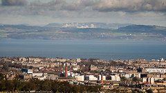 Leith, Fife and the Firth of Forth (Joe Dunckley) Tags: centralbelt edinburgh fife firthofforth leith lothian lowlands northsea ochilhills scotland uk city cityscape estuary hill landscape nature sea smoke water