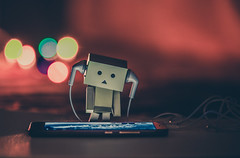 Danbo listening to music (Vagelis Pikoulas) Tags: toy danbo canon 6d bokeh tamron 70200mm vc light lights lightroom long exposure